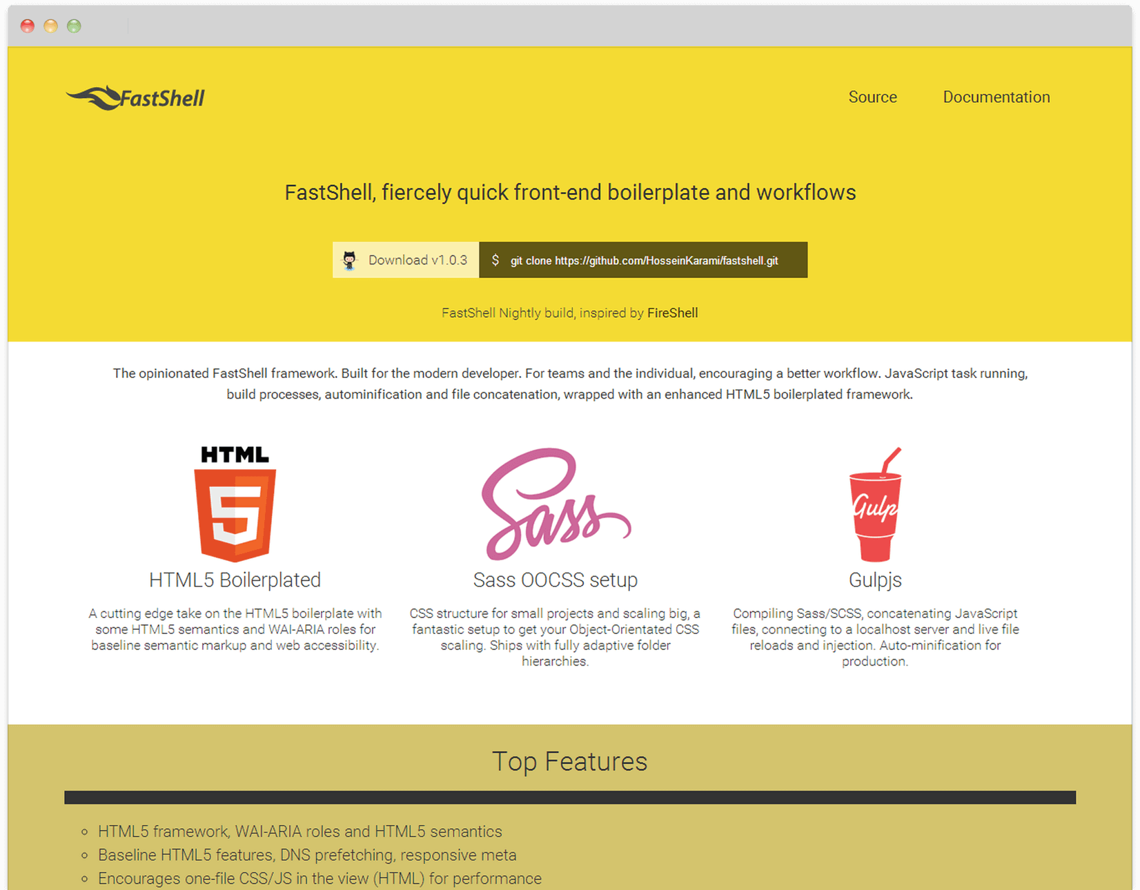 FastShell: HTML5, Sass and JavaScript boilerplate for Gulp